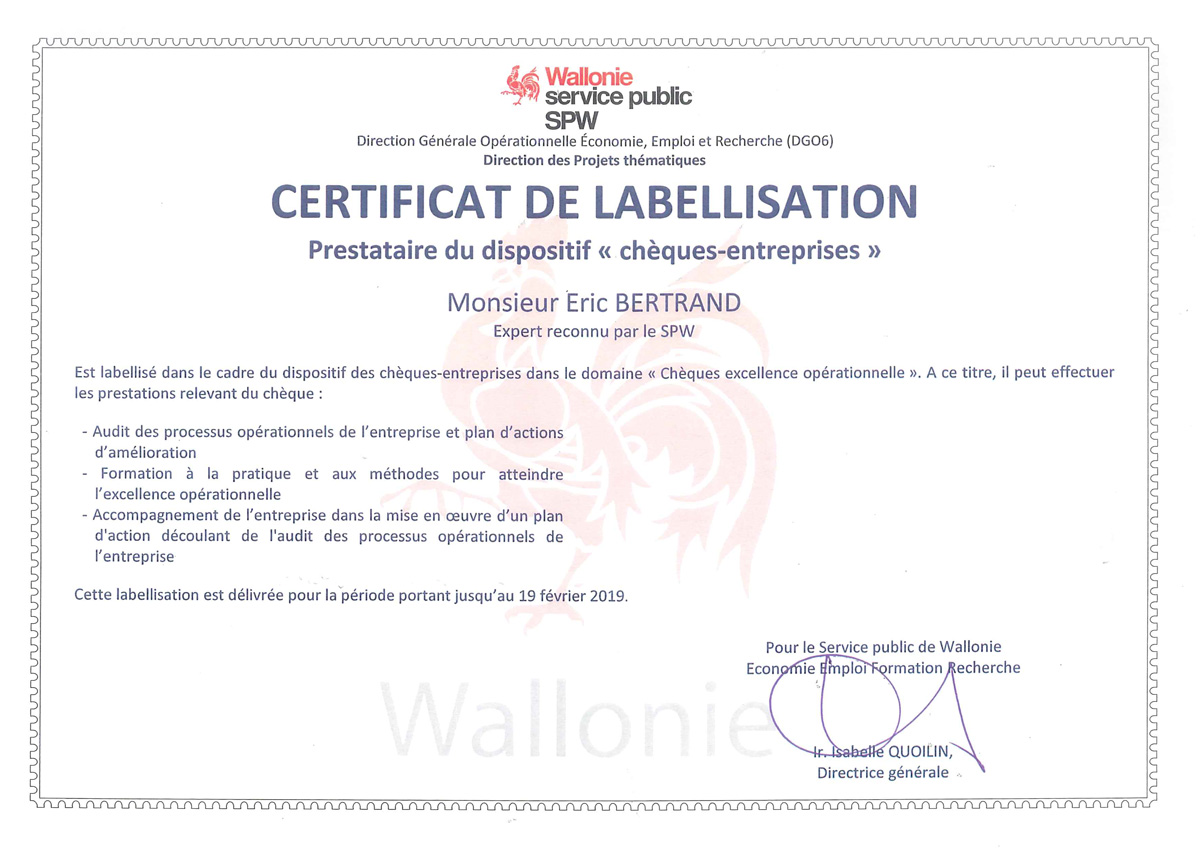 eric bertrand certificat labellisation excellence operationnelle